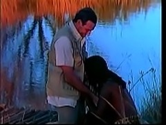 Classic white stud gets BJ from African slut Eva then fucks her pussy