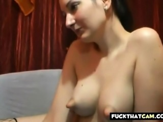 Puffy nippled webcam babe teasing cock