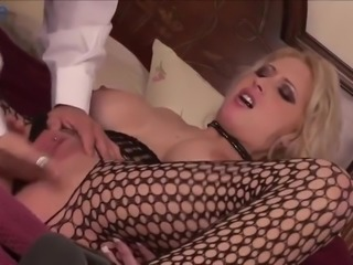 Busty auburn cowgirl Candy jumps on dick and gets poked missionary