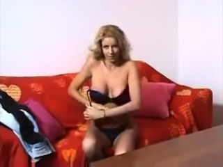 Erotic Big Titted Blonde Striptease and Fingering