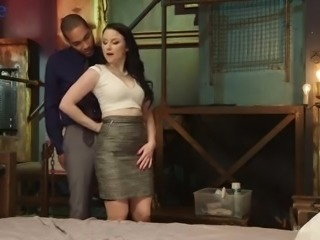 Ardent pale Veruca James wanks and pleases hard black cock in a hot way