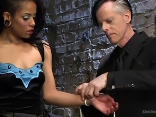 Ebony hottie Jessica Creepshow has to wear latex stuff while riding cock