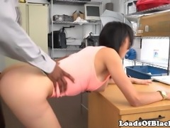Casting babe doggystyled over desk by agent