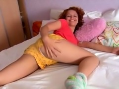 Ugly redhead mom toys her hairy pussy