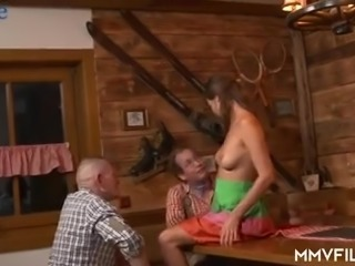 Lovely all natural nympho with juicy tits Ronny Rosetti sucks two dicks