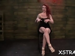 Insatiable redhead is delighted in a slutty belt on trio