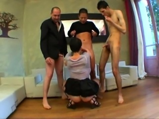 Sophie a French mature gangbanged