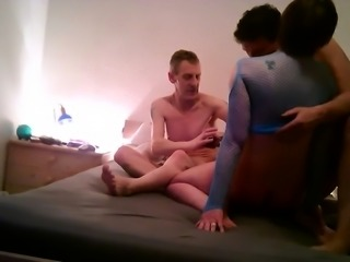 Lustful mature wife gets used by two horny guys on the bed