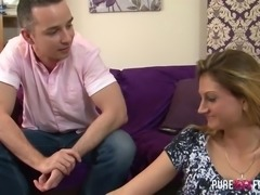 Romanian housewife Eva Johnson is eager to ride strong cock on top greedily