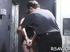 Busty hottie gets aroused while enduring pain on her titties