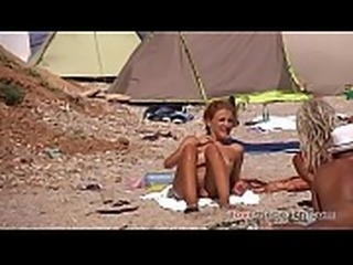 redhead nudist girl on beach ibiza