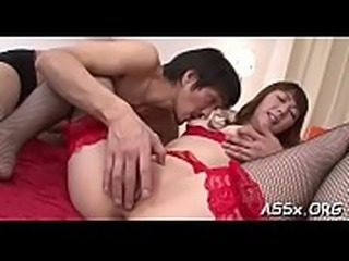 Asian hottie shares her butt hole in racy hot threesome sex