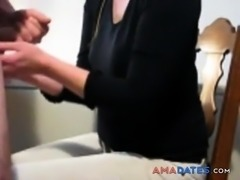 CFNM Handjob and Cumshot on a Black T-shirt