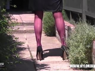 Kinky Milf teases her long nylon clad legs for your worship