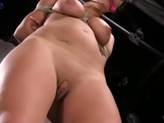 Hogtied sexy beauty Charlotte Cross gets hung above the floor during BDSM
