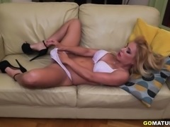 Hot mom Nadia playing with her unshaved pussy