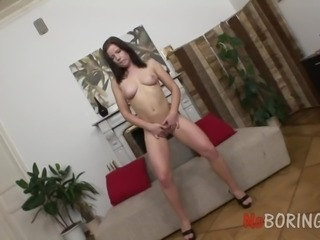 Buxom pretty lady Almira takes cock in both of her holes today
