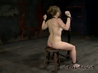 Shackled hottie Melody gets tortured in a cellar in BDSM clip