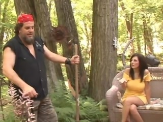 Busty brunette mom gets fucked by some nerd in a forest