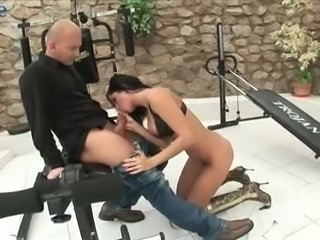 After posing in sexy black lingerie lusty Renata Black gets anal banged