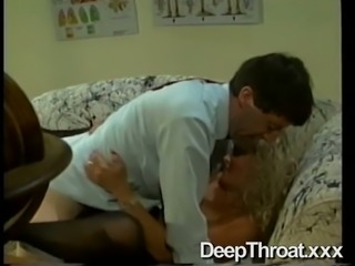 Lazy messy haired blonde housewife provides man with a blowjob