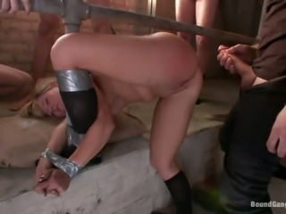 Blonde girl in school uniform gets bounded and gangbanged