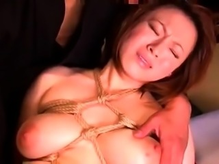 Stacked Japanese wife gets tied up and pumped full of cock