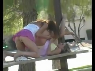Eating Pussy on a Park Bench
