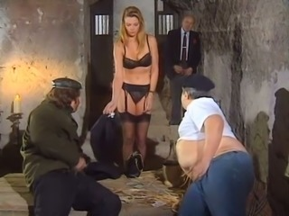 Busty blond haired hootchie gets invaded by three studs hard