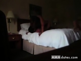 Hubby wife and bull in a hotel room