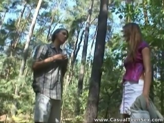 Shapely teen with yummy tits gets fucked in the woods