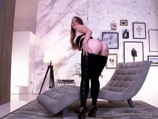 After taking her black lingerie off lovely Asolia gets hammered doggy