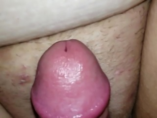 Wife rubs clit then i cum on her belly