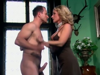 Hot like fire blond Italian sweetie sucks big sugary penis ardently