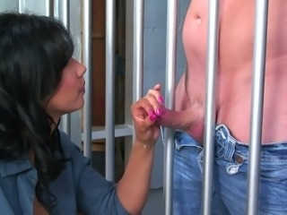 Lucky prisoner penetrates the sweet pussy of a black-haired chick