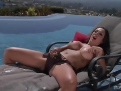After being caught on masturbation lusty busty Amy Fisher rides firm cock