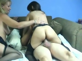 Bisexual FFM threesome with two hot MILFs and one old man