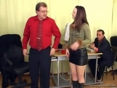Kinky mature gets blindfolded and gangbanged at the office