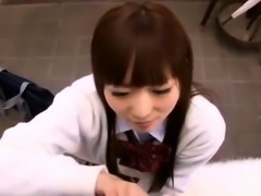 Gorgeous Asian schoolgirl kneels down and blows a POV cock