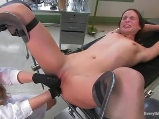 Hardcore lesbian BDSM in the gynecologist's lab