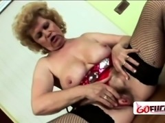 Horny granny in red lingerie gets down