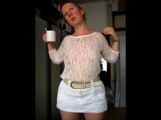 braless sheer top and mini skirt no pants