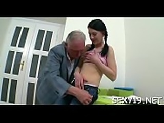 Lovely darling is getting hardcore spooning from old dom