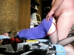Doggy-style fucking in crotchless pantyhose