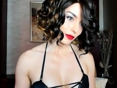Stunning brunette camgirl in lingerie flaunts her sexy body