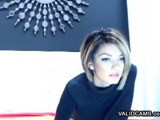 Sexy slim immature striptease via webcam
