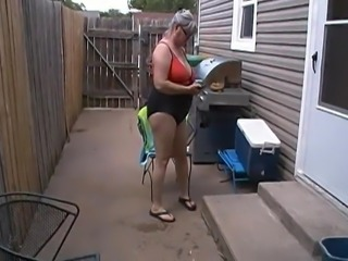 Kim Bates started out wearing a swim suit. .