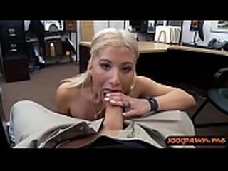 Big juggs blond woman gives head and nailed by pawn guy