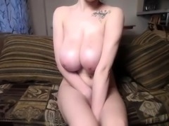 Busty French Canadian Hottie with his boobs
