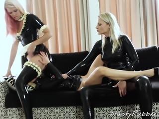 Latex Lesbian Threesome, Fingering, Face Sitting